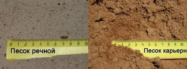 Отличие карьерного и речного песка